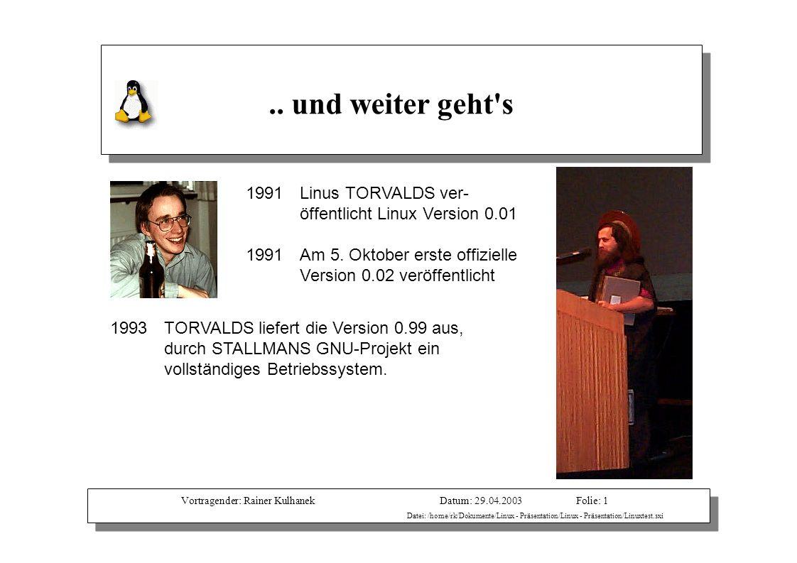 Vortragender: Rainer KulhanekDatum: 29.04.2003 Datei: /home/rk/Dokumente/Linux - Präsentation/Linux - Präsentation/Linuxtest.sxi Folie: 1.. und weiter