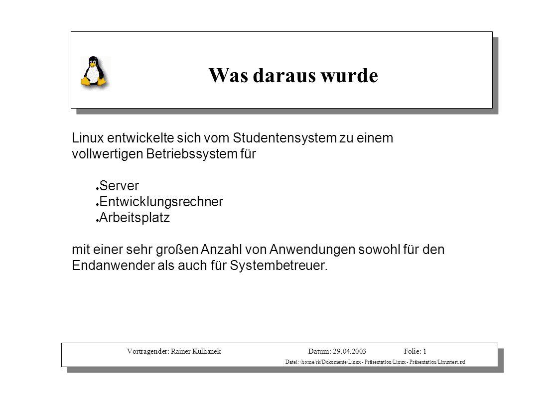 Vortragender: Rainer KulhanekDatum: 29.04.2003 Datei: /home/rk/Dokumente/Linux - Präsentation/Linux - Präsentation/Linuxtest.sxi Folie: 1 Was daraus w