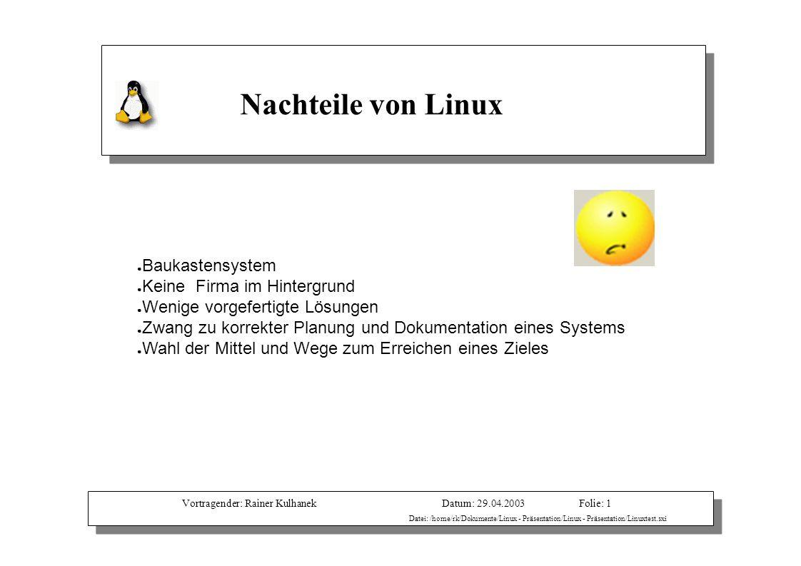 Vortragender: Rainer KulhanekDatum: 29.04.2003 Datei: /home/rk/Dokumente/Linux - Präsentation/Linux - Präsentation/Linuxtest.sxi Folie: 1 Nachteile vo