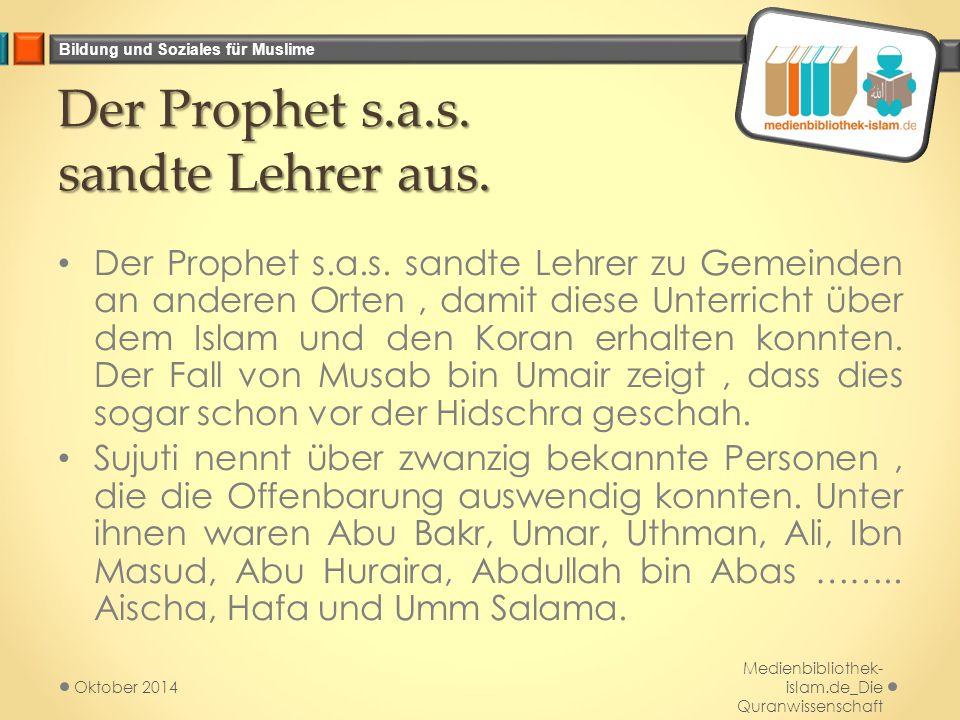 Bildung und Soziales für Muslime Der Prophet s.a.s.