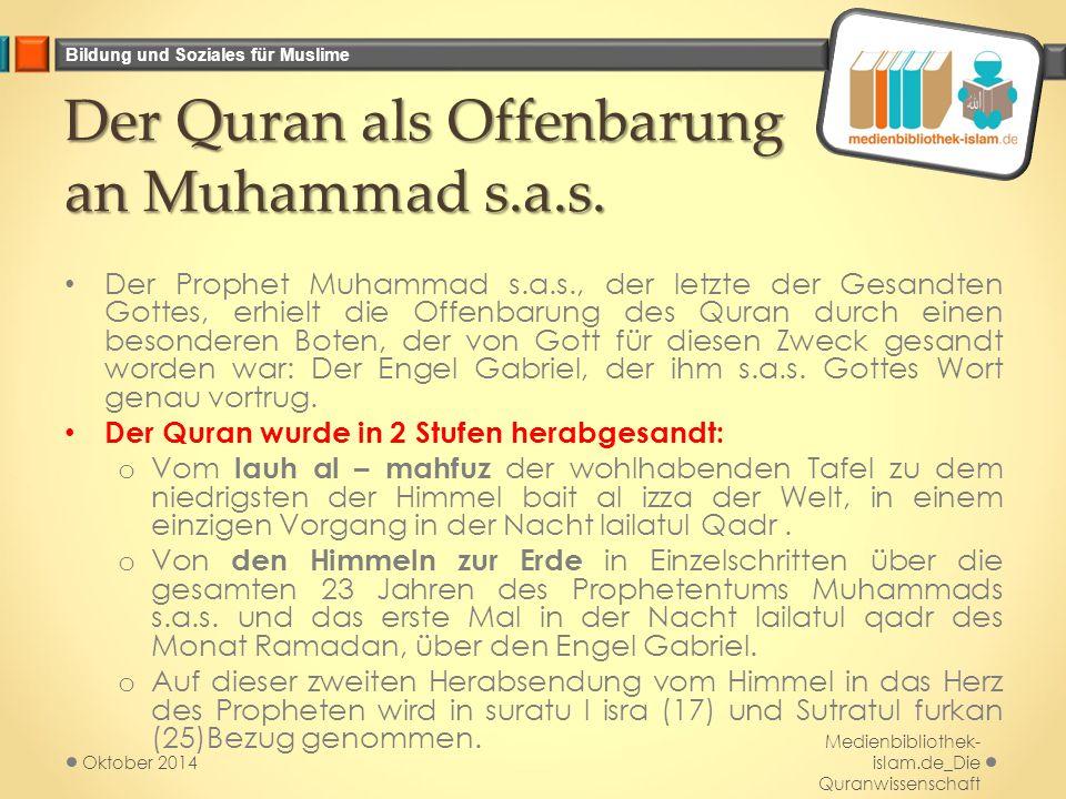 Bildung und Soziales für Muslime Der Quran als Offenbarung an Muhammad s.a.s.