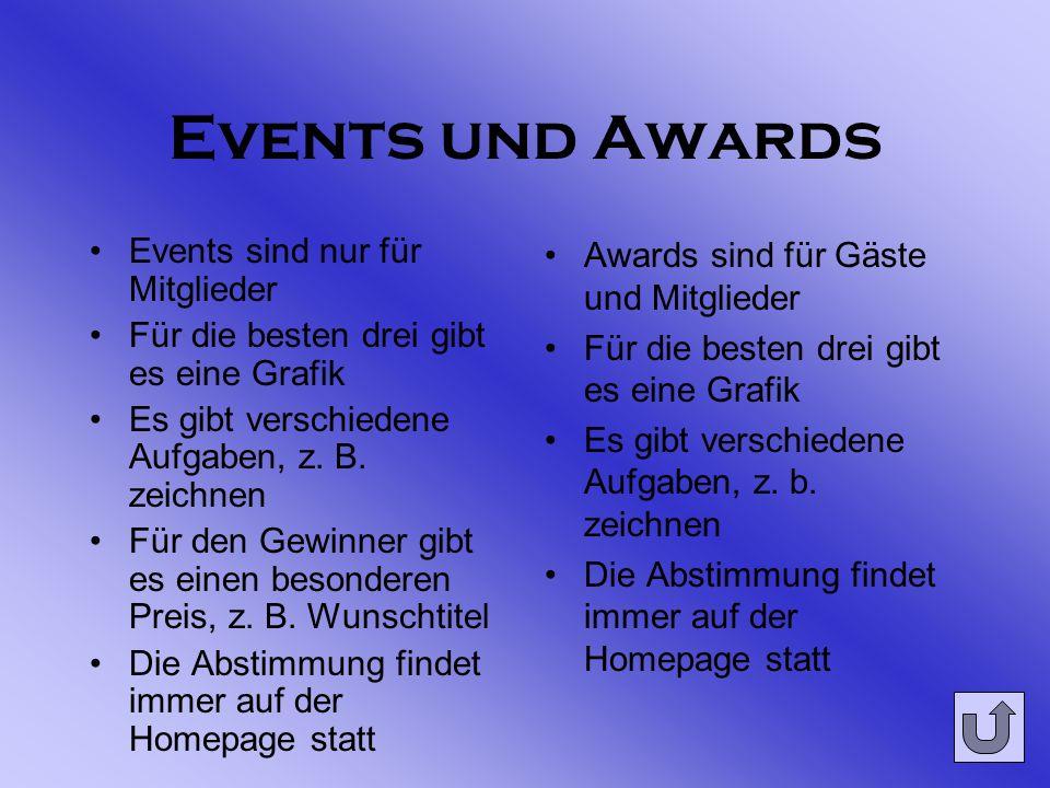 Events und Awards Events sind nur für Mitglieder Für die besten drei gibt es eine Grafik Es gibt verschiedene Aufgaben, z.