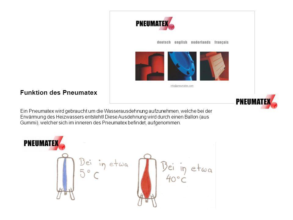 Funktion des Pneumatex Ein Pneumatex wird gebraucht um die Wasserausdehnung aufzunehmen, welche bei der Erwärmung des Heizwassers entsteht! Diese Ausd