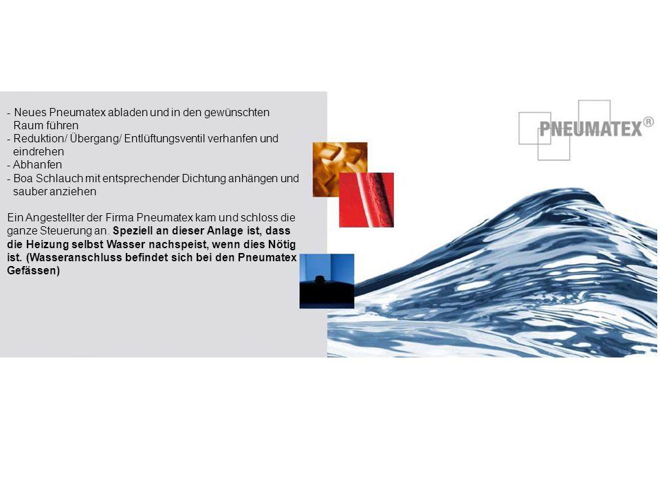 - Neues Pneumatex abladen und in den gewünschten Raum führen - Reduktion/ Übergang/ Entlüftungsventil verhanfen und eindrehen - Abhanfen - Boa Schlauc