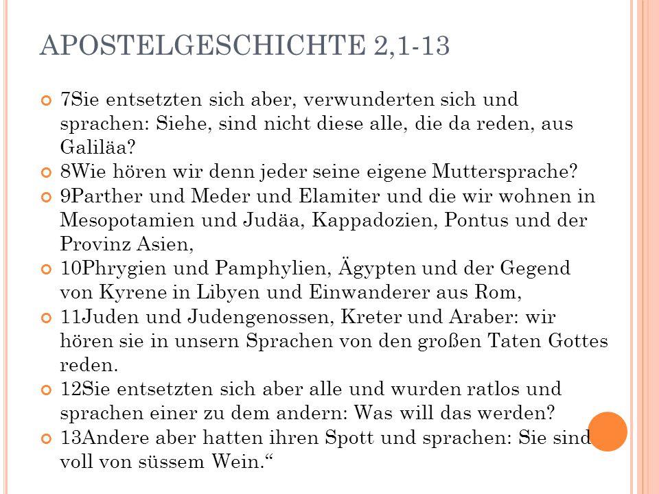 APOSTELGESCHICHTE 2,1-13 7Sie entsetzten sich aber, verwunderten sich und sprachen: Siehe, sind nicht diese alle, die da reden, aus Galiläa? 8Wie höre