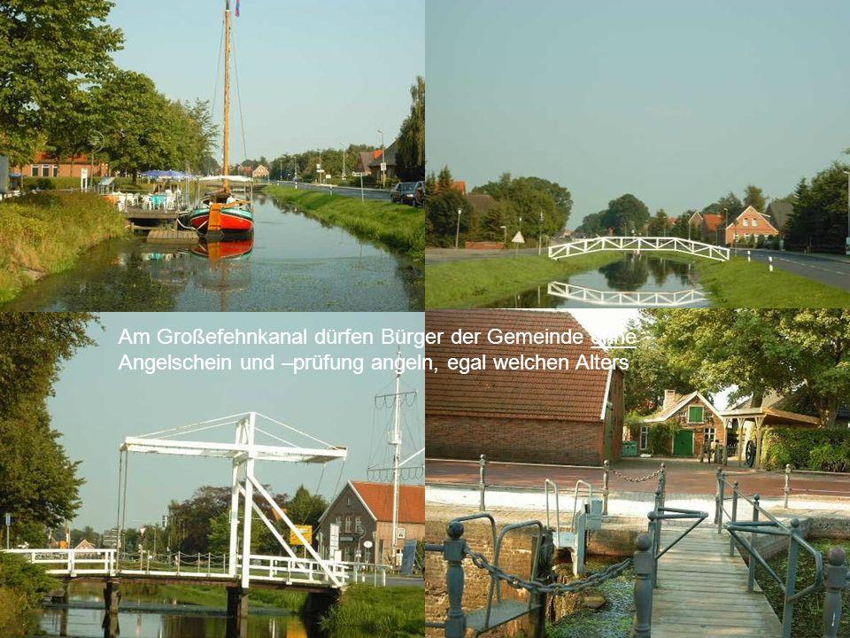 Am Großefehnkanal dürfen Bürger der Gemeinde ohne Angelschein und –prüfung angeln, egal welchen Alters