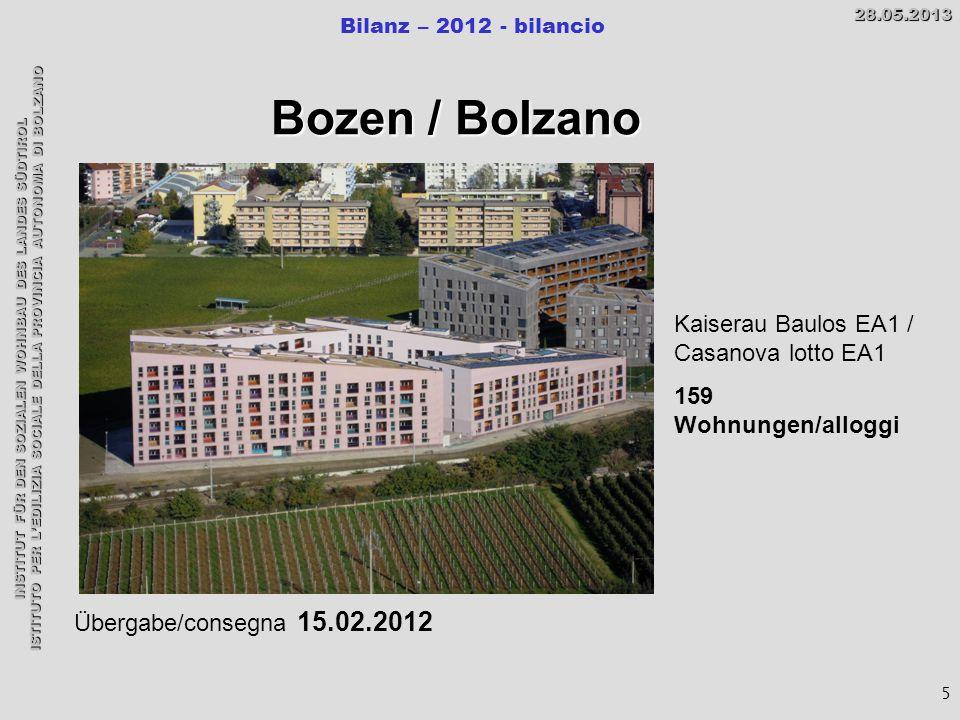 INSTITUT FÜR DEN SOZIALEN WOHNBAU DES LANDES SÜDTIROL ISTITUTO PER L'EDILIZIA SOCIALE DELLA PROVINCIA AUTONOMA DI BOLZANO Bilanz – 2012 - bilancio28.05.2013 5 Bozen / Bolzano Übergabe/consegna 15.02.2012 Kaiserau Baulos EA1 / Casanova lotto EA1 159 Wohnungen/alloggi