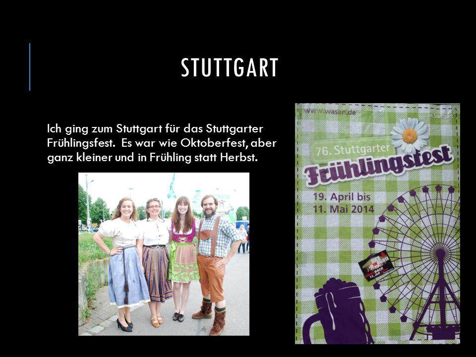 STUTTGART Ich ging zum Stuttgart für das Stuttgarter Frühlingsfest. Es war wie Oktoberfest, aber ganz kleiner und in Frühling statt Herbst.