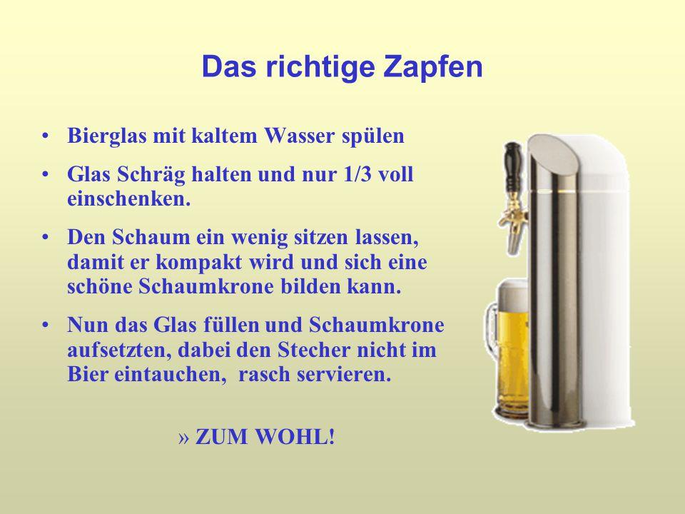 Das richtige Zapfen Bierglas mit kaltem Wasser spülen Glas Schräg halten und nur 1/3 voll einschenken.
