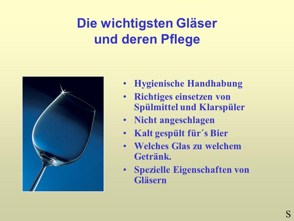 Die wichtigsten Gläser und deren Pflege Hygienische Handhabung Richtiges einsetzen von Spülmittel und Klarspüler Nicht angeschlagen Kalt gespült für´s Bier Welches Glas zu welchem Getränk.