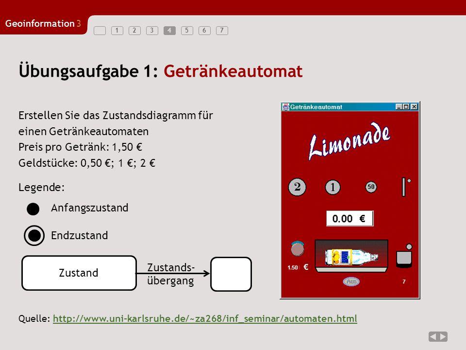 1234567 Geoinformation3 5 Übungsaufgabe 1: Lösung: Wert = 0,5 €Wert = 2,0 €Wert = 1,0 €Wert = 1,5 €Wert = 2,5 €Wert = 3,0 € 1,0 € einzahlen 2,0 € einzahlen 1,0 € einzahlen 0,5 € einzahlen 2,0 € einzahlen0,5 € einzahlen 1,0 € einzahlen 2,0 € einzahlen Flasche ausgeben 1,0 € auszahlen Flasche ausgeben 1,5 € auszahlen Flasche ausgeben 0,0 € auszahlen Flasche ausgeben 0,5 € auszahlen 0,5 € einzahlen