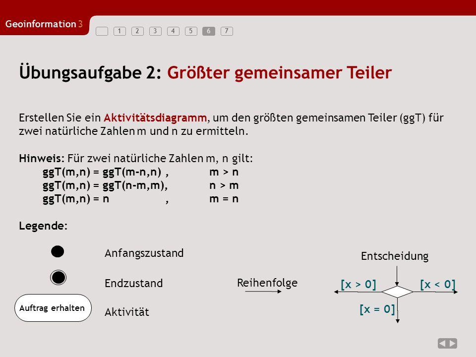 1234567 Geoinformation3 7 Übungsaufgabe 2: Lösung Für zwei natürliche Zahlen m, n gilt: ggT(m,n) = ggT(m-n,n), m > n ggT(m,n) = ggT(n-m,m), n > m ggT(m,n) = n, m = n [m > n][n > m] [m = n] m = m - n n = m Ausgabe: n ist GGT m = h - m h = n
