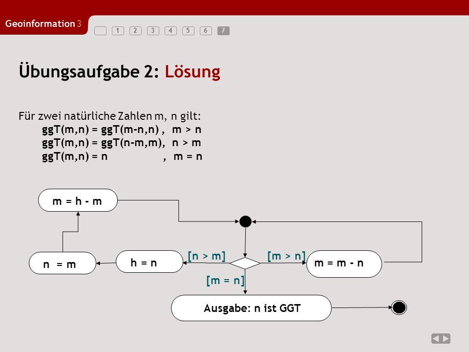 1234567 Geoinformation3 7 Übungsaufgabe 2: Lösung Für zwei natürliche Zahlen m, n gilt: ggT(m,n) = ggT(m-n,n), m > n ggT(m,n) = ggT(n-m,m), n > m ggT(
