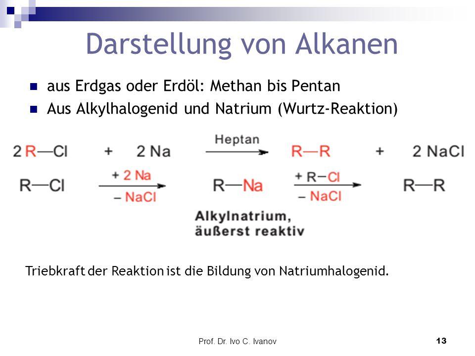 Prof. Dr. Ivo C. Ivanov13 Darstellung von Alkanen aus Erdgas oder Erdöl: Methan bis Pentan Aus Alkylhalogenid und Natrium (Wurtz-Reaktion) Triebkraft