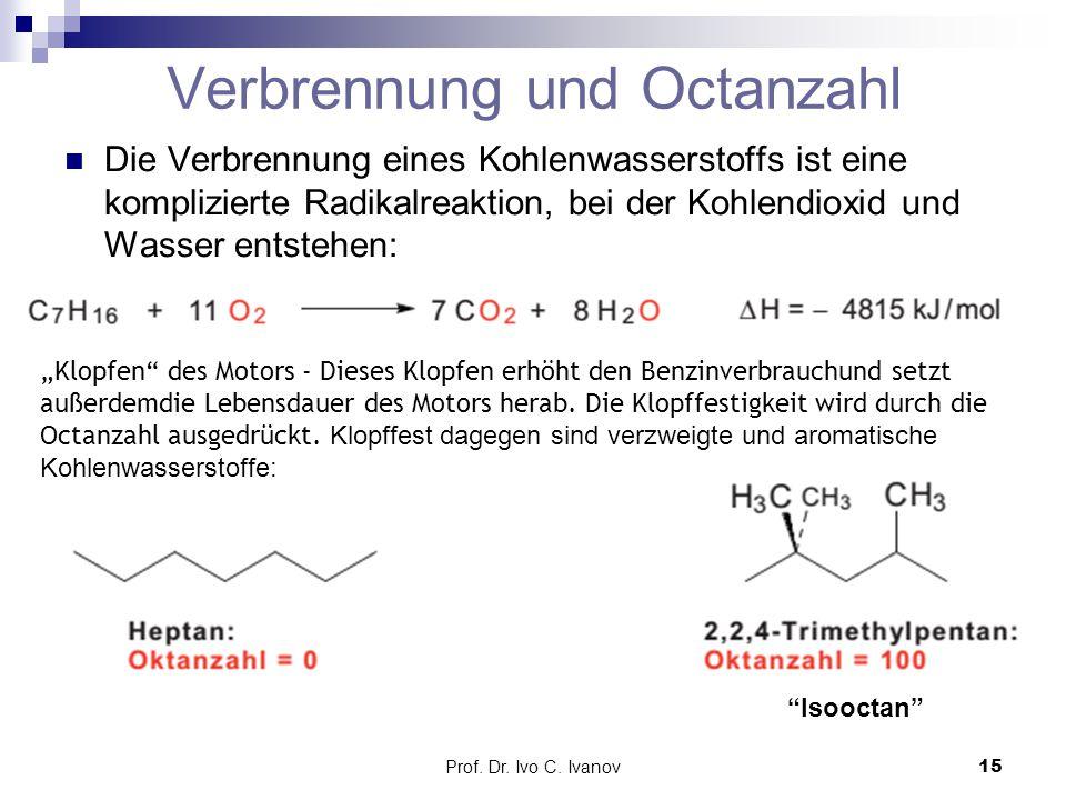 Prof. Dr. Ivo C. Ivanov15 Verbrennung und Octanzahl Die Verbrennung eines Kohlenwasserstoffs ist eine komplizierte Radikalreaktion, bei der Kohlendiox