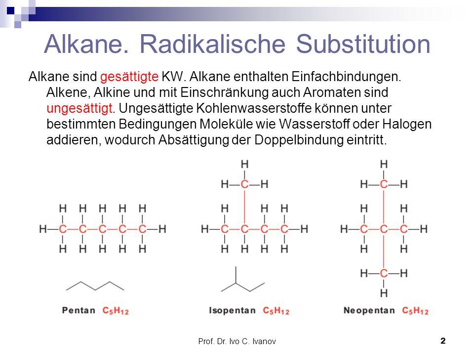 Prof. Dr. Ivo C. Ivanov2 Alkane. Radikalische Substitution Alkane sind gesättigte KW. Alkane enthalten Einfachbindungen. Alkene, Alkine und mit Einsch
