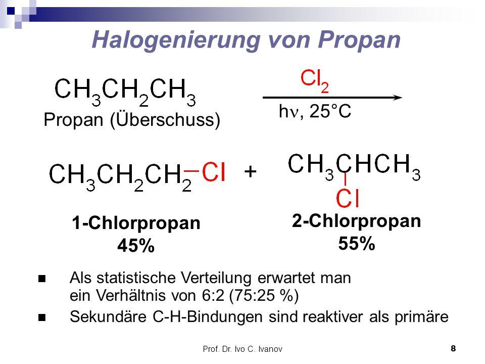 Prof. Dr. Ivo C. Ivanov8 Halogenierung von Propan Propan (Überschuss) h, 25°C 1-Chlorpropan 45% 2-Chlorpropan 55% + n Als statistische Verteilung erwa