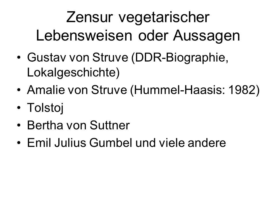 Zensur vegetarischer Lebensweisen oder Aussagen Gustav von Struve (DDR-Biographie, Lokalgeschichte) Amalie von Struve (Hummel-Haasis: 1982) Tolstoj Bertha von Suttner Emil Julius Gumbel und viele andere