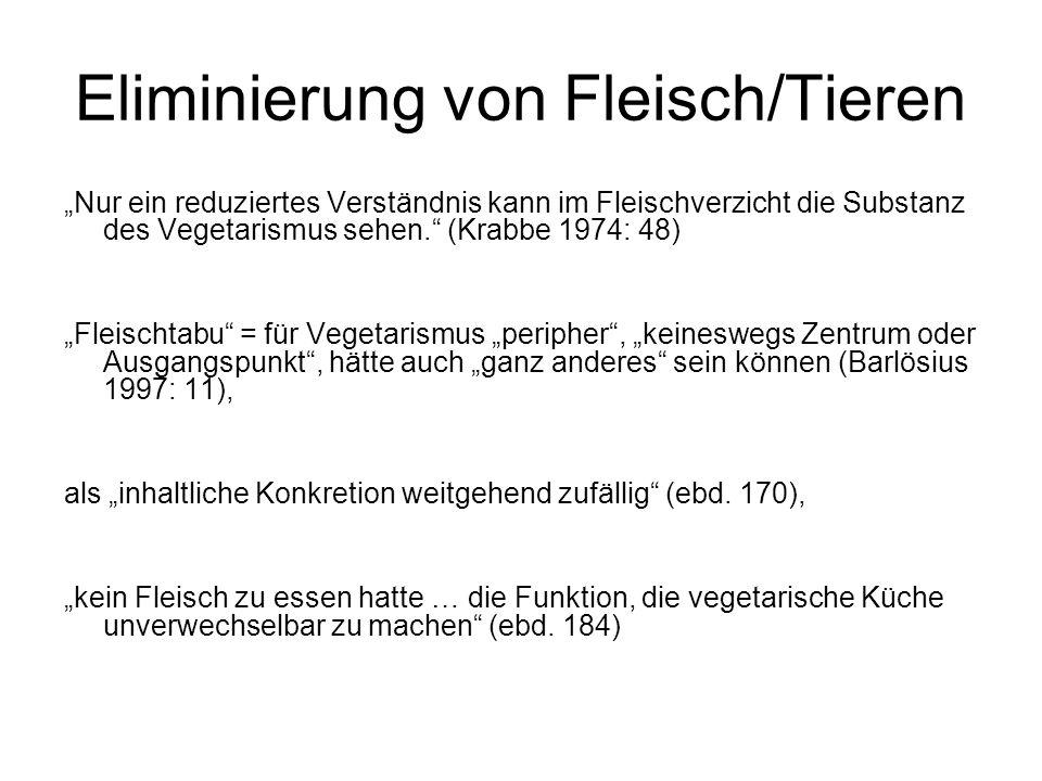 """Eliminierung von Fleisch/Tieren """"Nur ein reduziertes Verständnis kann im Fleischverzicht die Substanz des Vegetarismus sehen. (Krabbe 1974: 48) """"Fleischtabu = für Vegetarismus """"peripher , """"keineswegs Zentrum oder Ausgangspunkt , hätte auch """"ganz anderes sein können (Barlösius 1997: 11), als """"inhaltliche Konkretion weitgehend zufällig (ebd."""