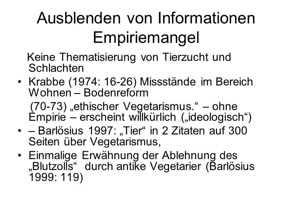 """Ausblenden von Informationen Empiriemangel Keine Thematisierung von Tierzucht und Schlachten Krabbe (1974: 16-26) Missstände im Bereich Wohnen – Bodenreform (70-73) """"ethischer Vegetarismus. – ohne Empirie – erscheint willkürlich (""""ideologisch ) – Barlösius 1997: """"Tier in 2 Zitaten auf 300 Seiten über Vegetarismus, Einmalige Erwähnung der Ablehnung des """"Blutzolls durch antike Vegetarier (Barlösius 1999: 119)"""
