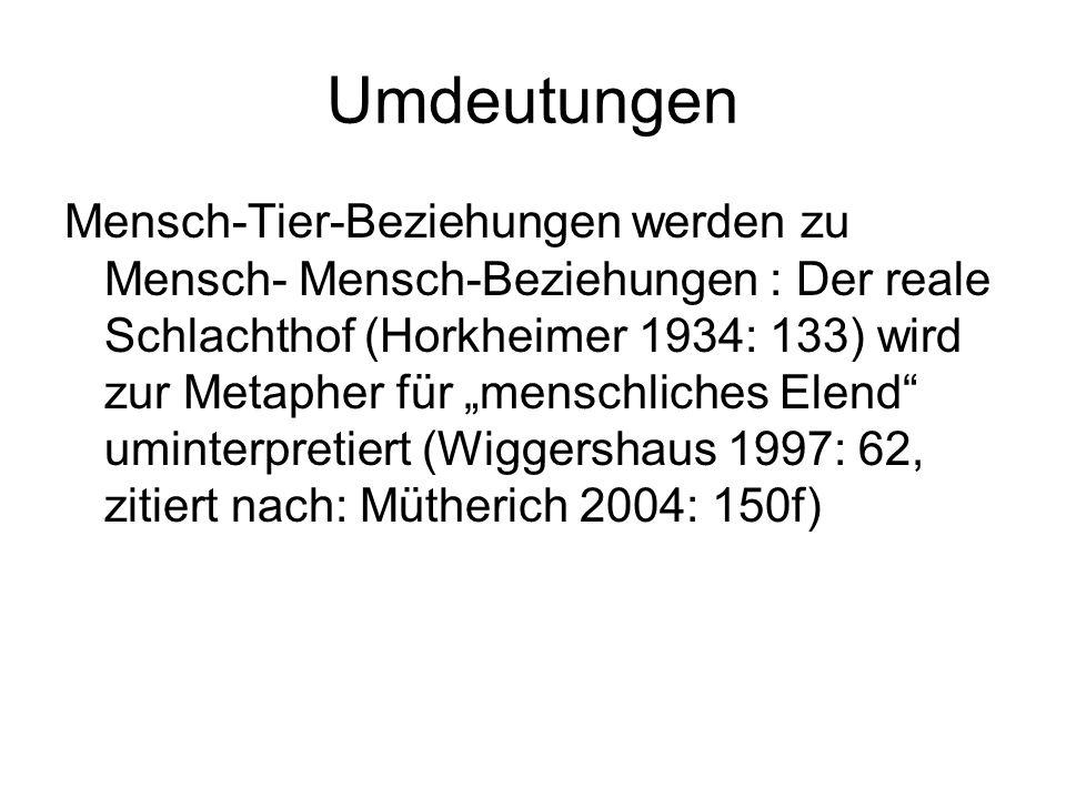 """Umdeutungen Mensch-Tier-Beziehungen werden zu Mensch- Mensch-Beziehungen : Der reale Schlachthof (Horkheimer 1934: 133) wird zur Metapher für """"menschliches Elend uminterpretiert (Wiggershaus 1997: 62, zitiert nach: Mütherich 2004: 150f)"""
