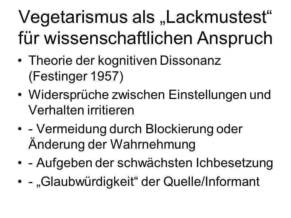 """Vegetarismus als """"Lackmustest für wissenschaftlichen Anspruch Theorie der kognitiven Dissonanz (Festinger 1957) Widersprüche zwischen Einstellungen und Verhalten irritieren - Vermeidung durch Blockierung oder Änderung der Wahrnehmung - Aufgeben der schwächsten Ichbesetzung - """"Glaubwürdigkeit der Quelle/Informant"""