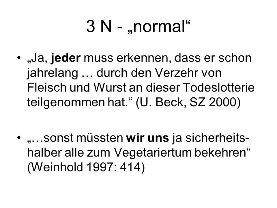 """3 N - """"normal """"Ja, jeder muss erkennen, dass er schon jahrelang … durch den Verzehr von Fleisch und Wurst an dieser Todeslotterie teilgenommen hat. (U."""