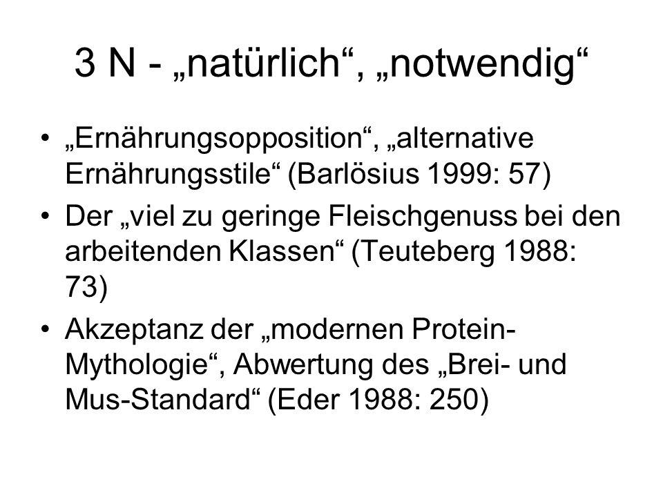 """3 N - """"natürlich , """"notwendig """"Ernährungsopposition , """"alternative Ernährungsstile (Barlösius 1999: 57) Der """"viel zu geringe Fleischgenuss bei den arbeitenden Klassen (Teuteberg 1988: 73) Akzeptanz der """"modernen Protein- Mythologie , Abwertung des """"Brei- und Mus-Standard (Eder 1988: 250)"""