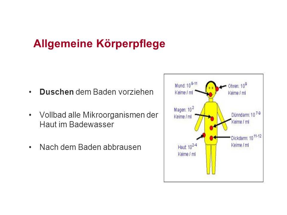 Allgemeine Körperpflege Duschen dem Baden vorziehen Vollbad alle Mikroorganismen der Haut im Badewasser Nach dem Baden abbrausen
