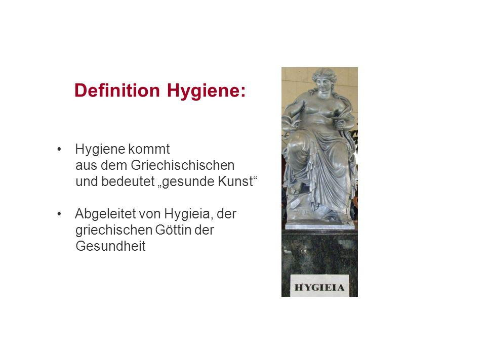 """Definition Hygiene: Hygiene kommt aus dem Griechischischen und bedeutet """"gesunde Kunst"""" Abgeleitet von Hygieia, der griechischen Göttin der Gesundheit"""
