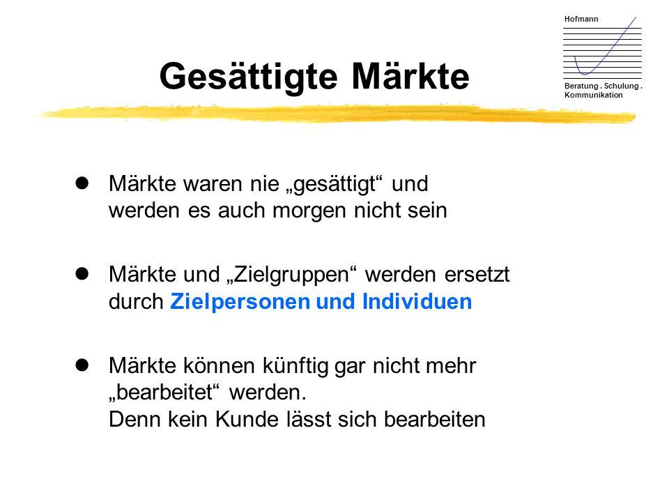 """Hofmann Beratung. Schulung. Kommunikation Gesättigte Märkte lMärkte waren nie """"gesättigt"""" und werden es auch morgen nicht sein lMärkte und """"Zielgruppe"""