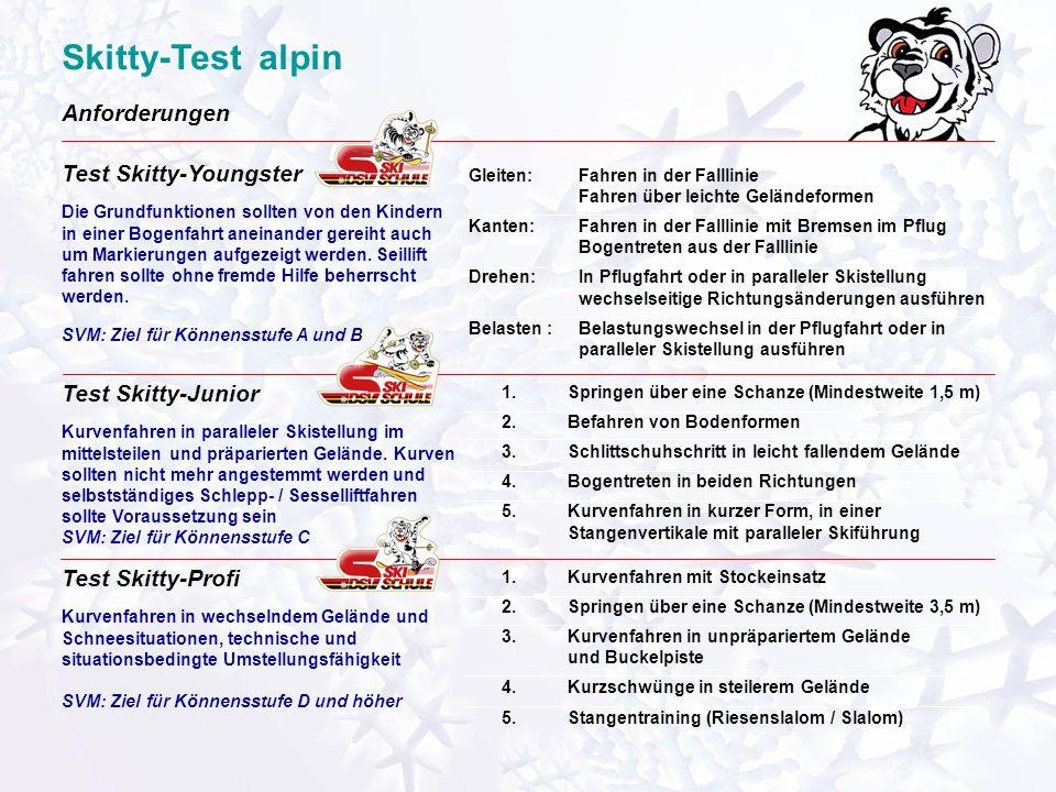 Skitty-Test alpin Skitty-Test Snowboard für Kinder und Jugendliche in der DSV-Skischule Die 3 Leistungsstufen untere Stufe: Skitty-Youngster mittlere