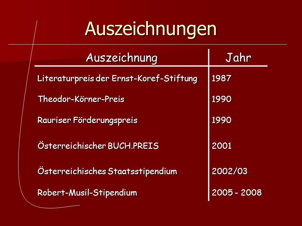Auszeichnungen AuszeichnungJahr Literaturpreis der Ernst-Koref-Stiftung 1987 Theodor-Körner-Preis1990 Rauriser Förderungspreis 1990 Österreichischer B