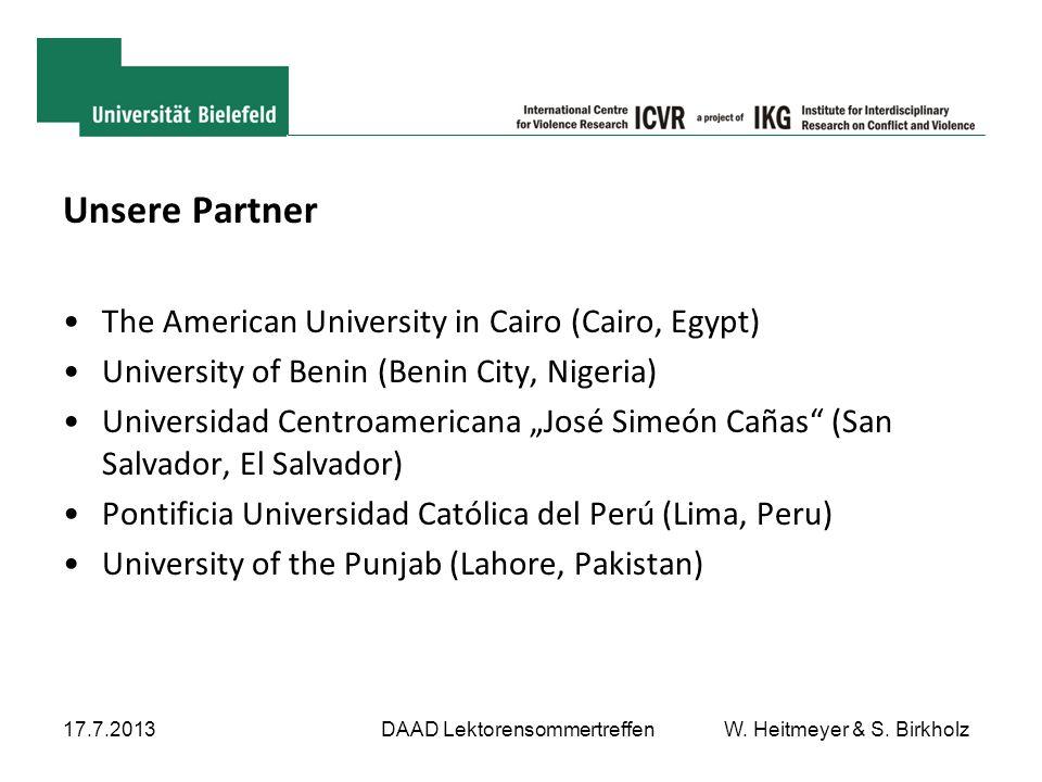 "Unsere Partner The American University in Cairo (Cairo, Egypt) University of Benin (Benin City, Nigeria) Universidad Centroamericana ""José Simeón Caña"