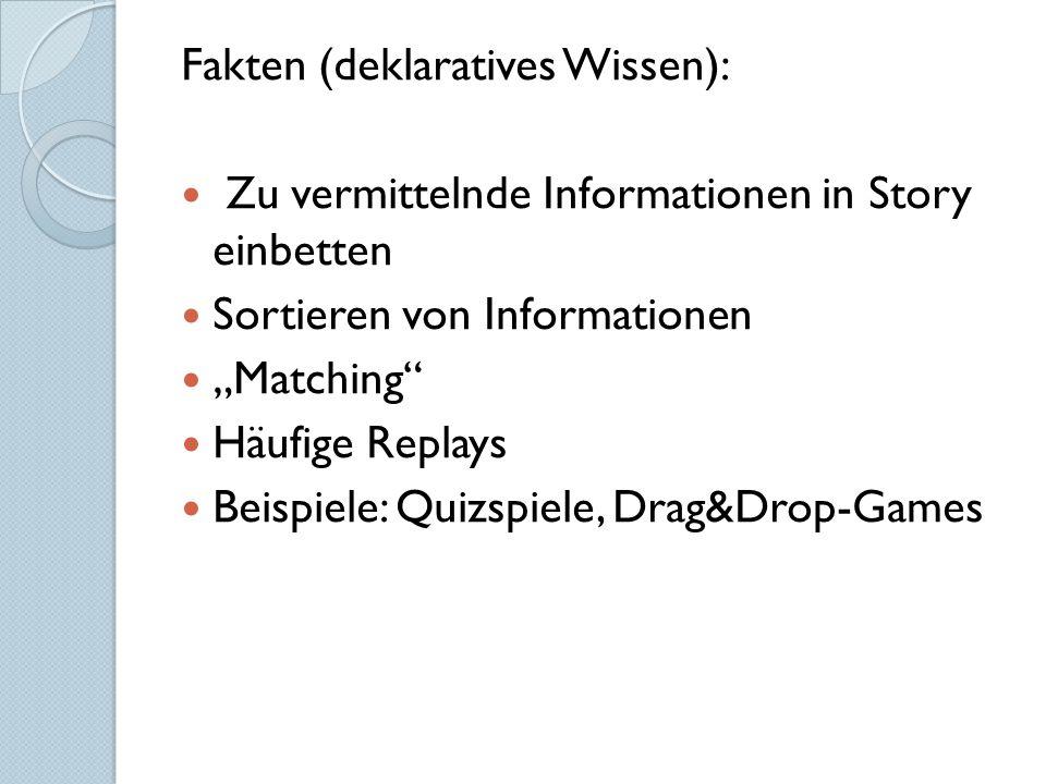 """Fakten (deklaratives Wissen): Zu vermittelnde Informationen in Story einbetten Sortieren von Informationen """"Matching Häufige Replays Beispiele: Quizspiele, Drag&Drop-Games"""