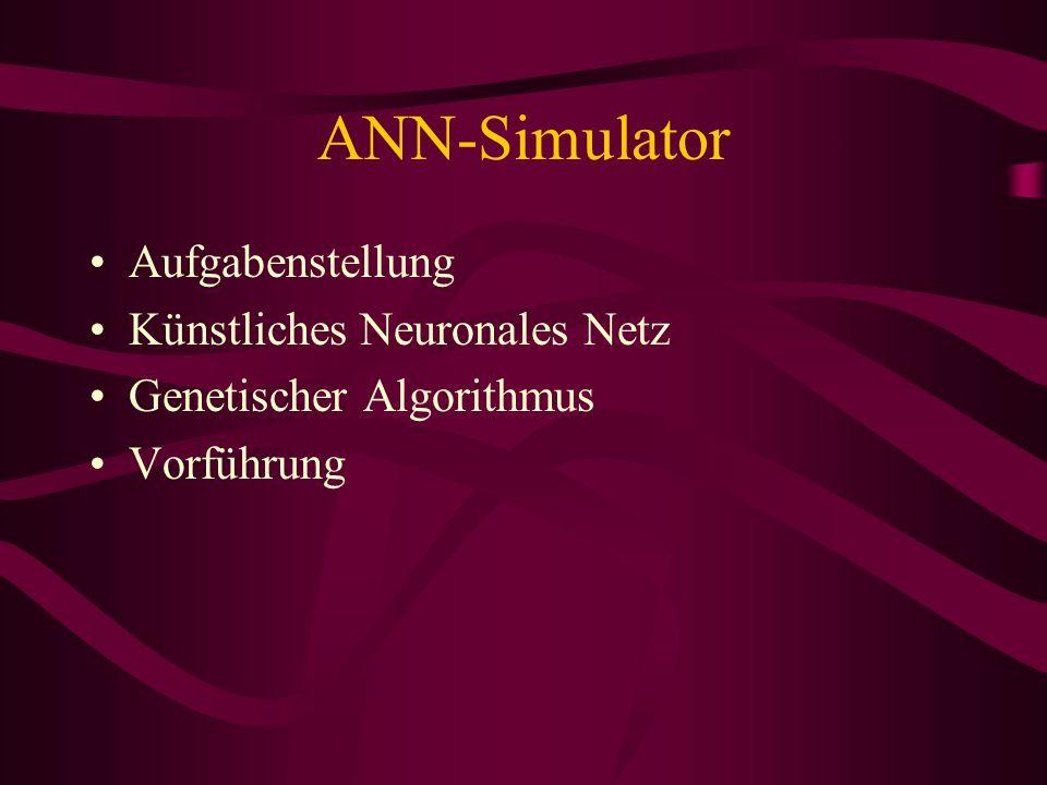 ANN-Simulator Aufgabenstellung Künstliches Neuronales Netz Genetischer Algorithmus Vorführung