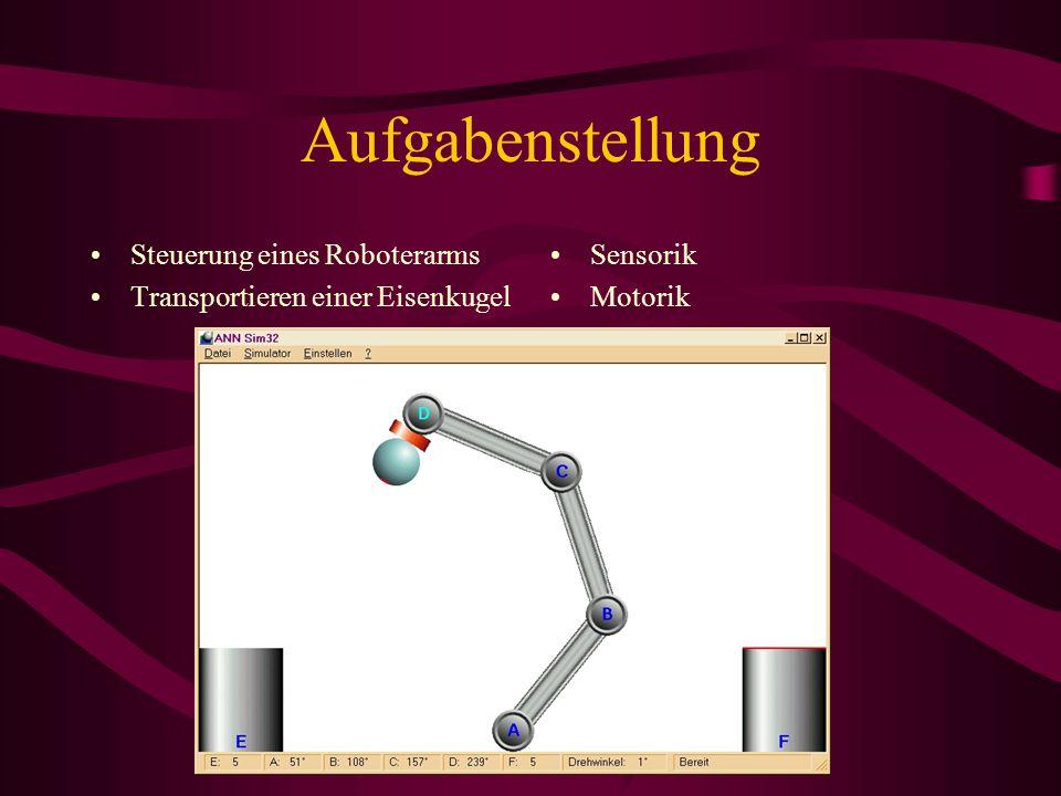 Aufgabenstellung Steuerung eines Roboterarms Transportieren einer Eisenkugel Sensorik Motorik