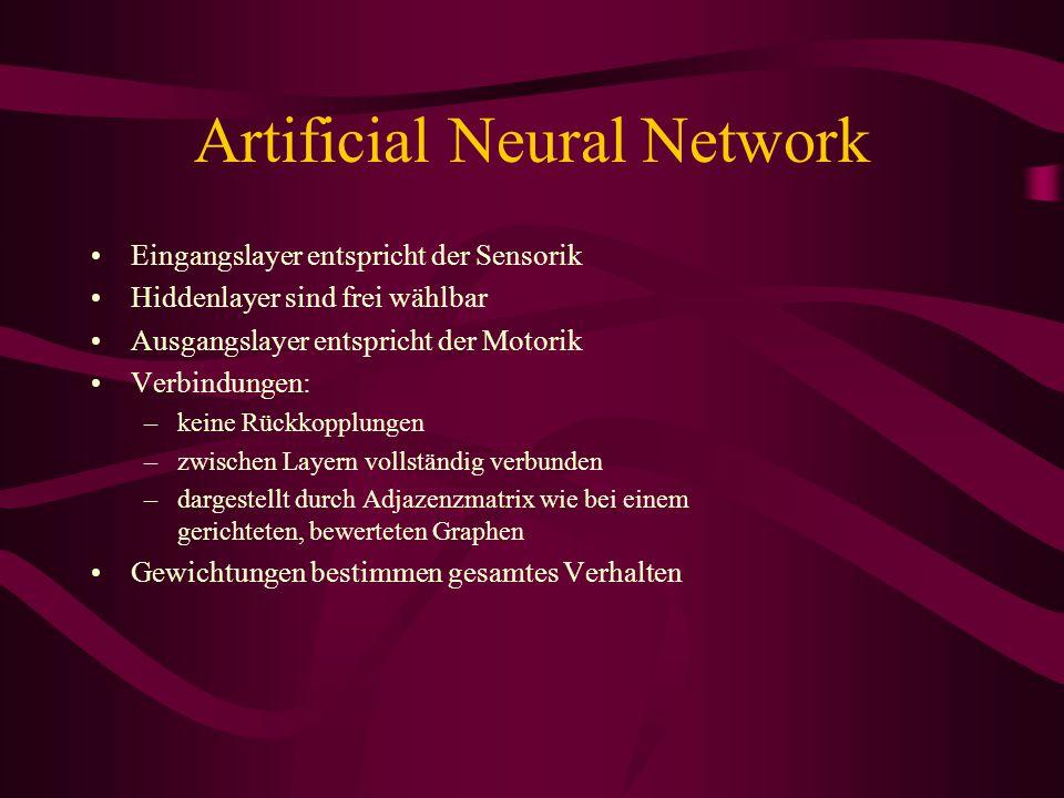 Artificial Neural Network Eingangslayer entspricht der Sensorik Hiddenlayer sind frei wählbar Ausgangslayer entspricht der Motorik Verbindungen: –keine Rückkopplungen –zwischen Layern vollständig verbunden –dargestellt durch Adjazenzmatrix wie bei einem gerichteten, bewerteten Graphen Gewichtungen bestimmen gesamtes Verhalten