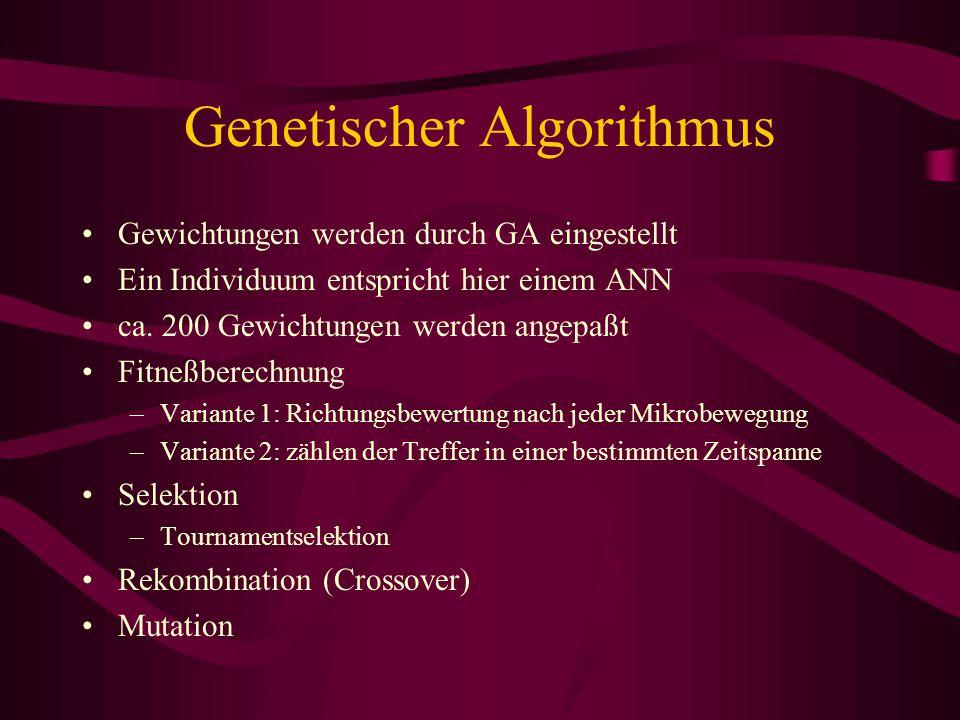 Genetischer Algorithmus Gewichtungen werden durch GA eingestellt Ein Individuum entspricht hier einem ANN ca. 200 Gewichtungen werden angepaßt Fitneßb