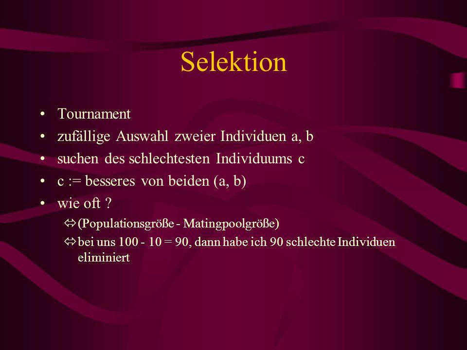 Selektion Tournament zufällige Auswahl zweier Individuen a, b suchen des schlechtesten Individuums c c := besseres von beiden (a, b) wie oft ? ó(Popul