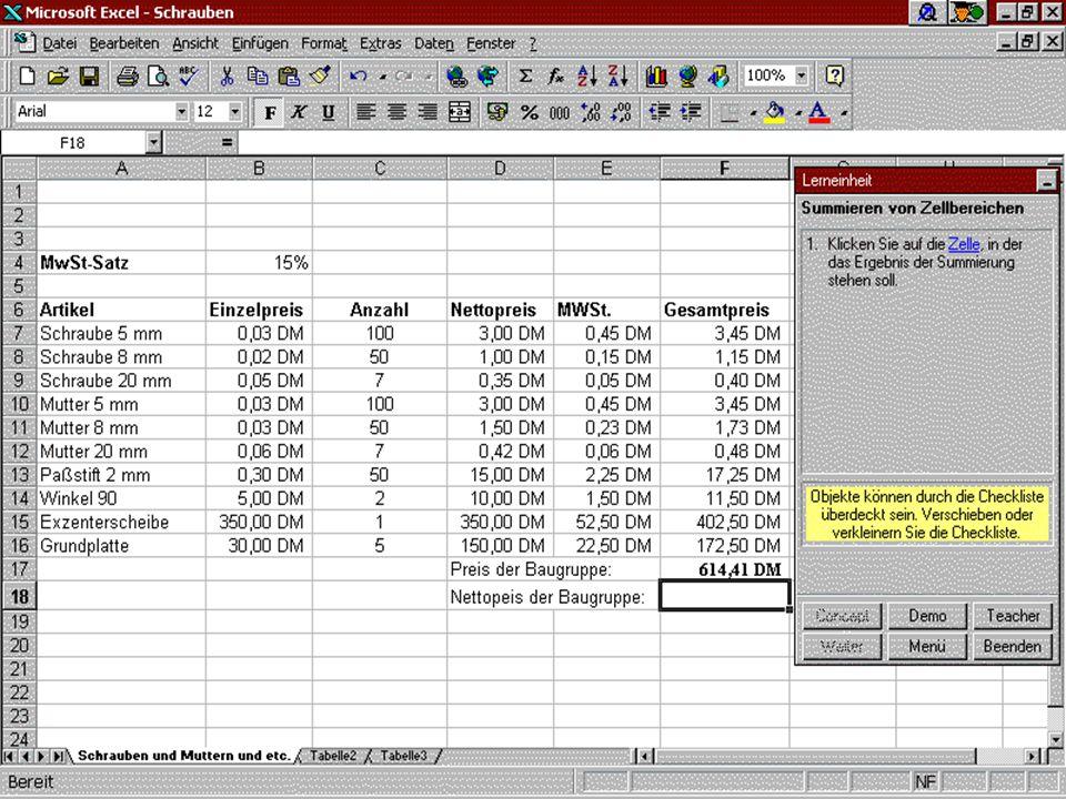 Der Praxis-Modus Innerhalb der aktiven Anwendung (im Beispiel hier EXCEL97) fragt der Anwender während des Arbeitens mit einer fast fertigen Tabelle nach Hilfe im Bezug auf Summenfunktionsbildung.