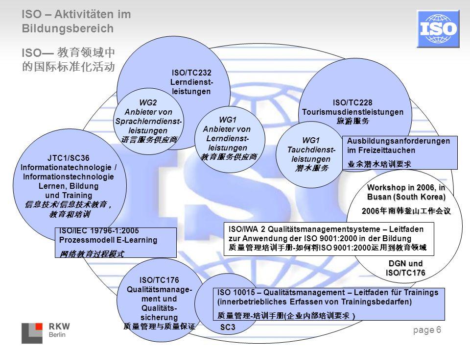 page 6 ISO – Aktivitäten im Bildungsbereich ISO/TC232 Lerndienst- leistungen ISO/TC228 Tourismusdienstleistungen 旅游服务 WG2 Anbieter von Sprachlerndiens