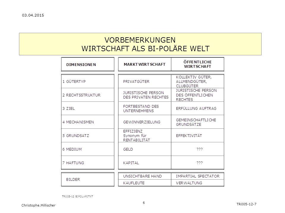 Christophe.Millischer 6 TR005-12-7 03.04.2015 VORBEMERKUNGEN WIRTSCHAFT ALS BI-POLÄRE WELT