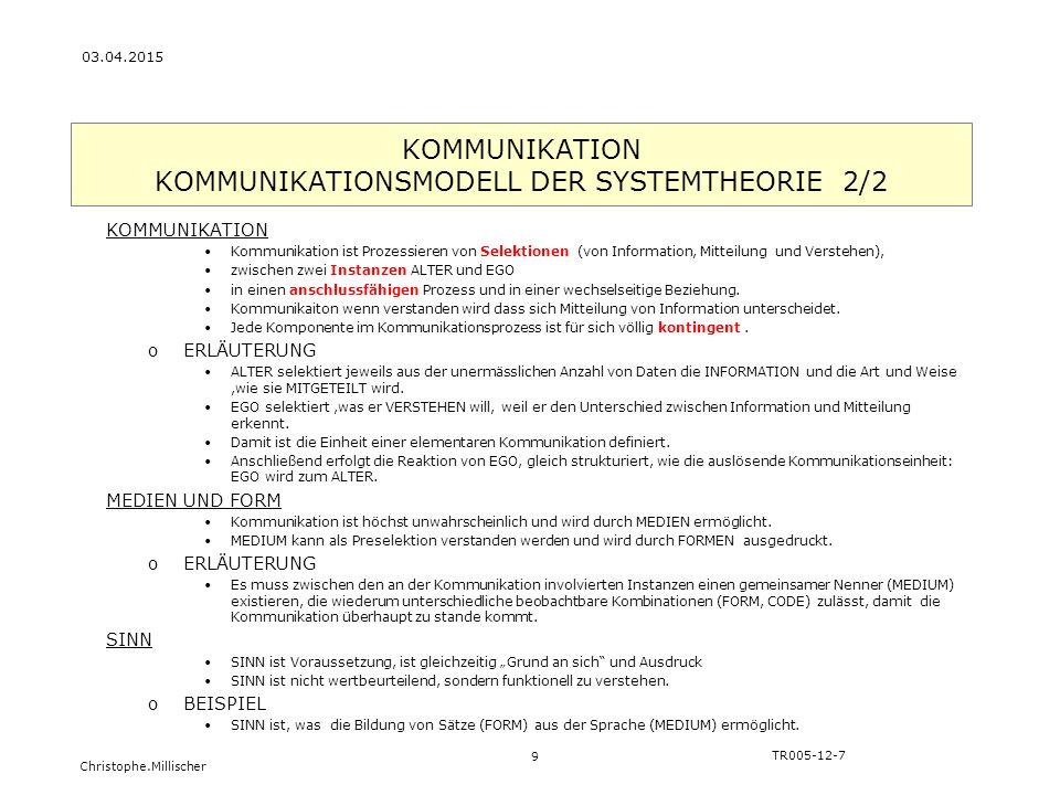 Christophe.Millischer KOMMUNIKATION KOMMUNIKATIONSMODELL DER SYSTEMTHEORIE 2/2 9 TR005-12-7 03.04.2015 KOMMUNIKATION Kommunikation ist Prozessieren vo