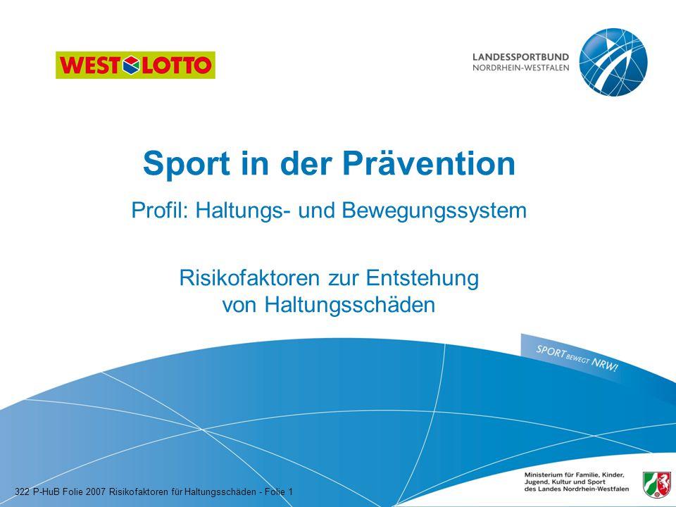Sport in der Prävention Profil: Haltungs- und Bewegungssystem Risikofaktoren zur Entstehung von Haltungsschäden 322 P-HuB Folie 2007 Risikofaktoren fü