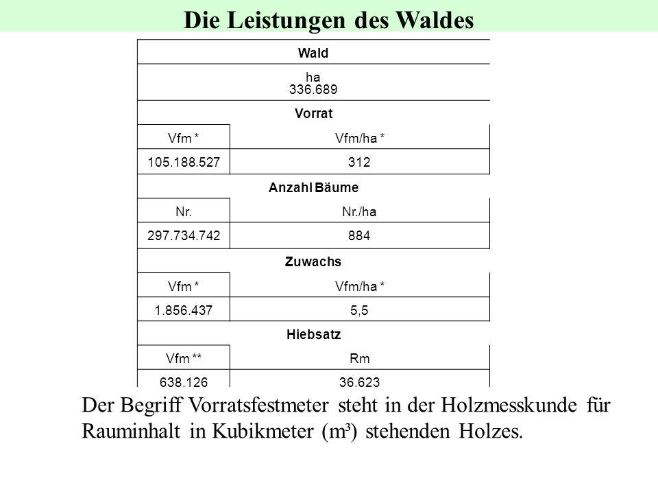 Wald ha 336.689 Vorrat Vfm *Vfm/ha * 105.188.527312 Anzahl Bäume Nr.Nr./ha 297.734.742884 Zuwachs Vfm *Vfm/ha * 1.856.4375,5 Hiebsatz Vfm **Rm 638.126