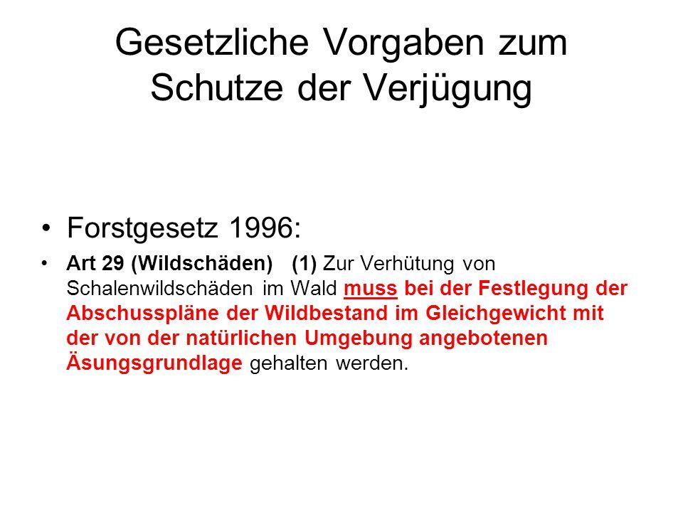 Gesetzliche Vorgaben zum Schutze der Verjügung Forstgesetz 1996: Art 29 (Wildschäden) (1) Zur Verhütung von Schalenwildschäden im Wald muss bei der Fe