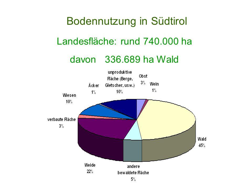 Bodennutzung in Südtirol Landesfläche: rund 740.000 ha davon 336.689 ha Wald