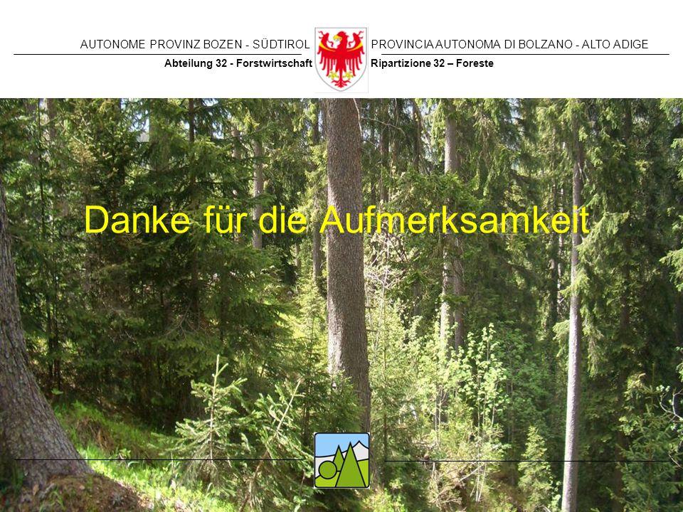 AUTONOME PROVINZ BOZEN - SÜDTIROLPROVINCIA AUTONOMA DI BOLZANO - ALTO ADIGE Ripartizione 32 – ForesteAbteilung 32 - Forstwirtschaft Danke für die Aufm