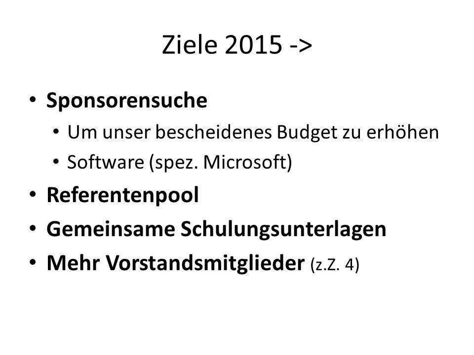 Ziele 2015 -> Sponsorensuche Um unser bescheidenes Budget zu erhöhen Software (spez. Microsoft) Referentenpool Gemeinsame Schulungsunterlagen Mehr Vor